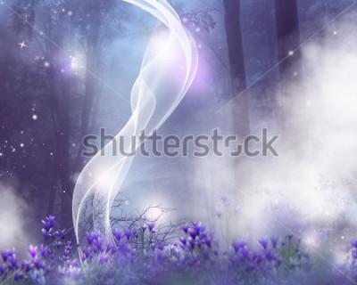 Obraz Fantasy tło z fioletowymi kwiatami i magicznymi efektami.