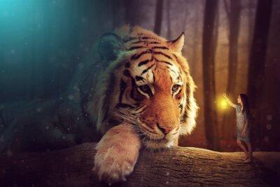 Obraz Fantasy world - kobieta i gigantyczny tygrys