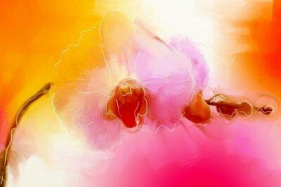 Obraz farby olejne o grafikę wektorową kwiat orchidei