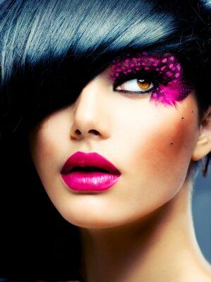 Obraz Fashion Brunette Portret modelu. Fryzura