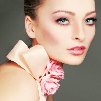Obraz Fashion girl portrait.Accessorys.On szare tło