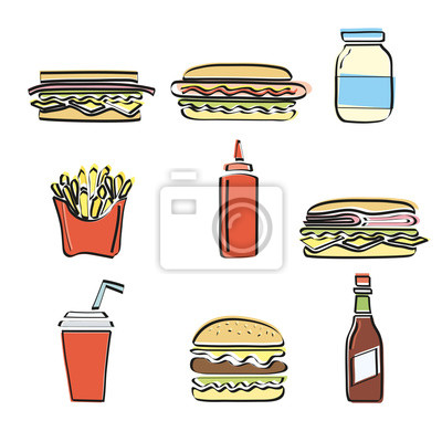 Obraz Fast Food vector set