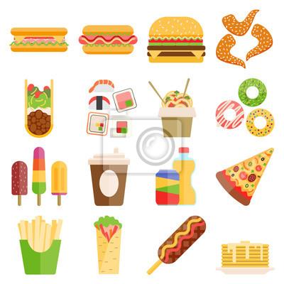 Obraz Fast Food wektor zestaw.