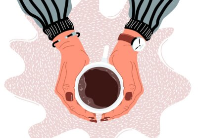 Obraz Female hands holding coffee cup flat vector illustration
