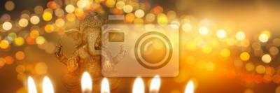 Obraz festive diwali background with ganesha goddess
