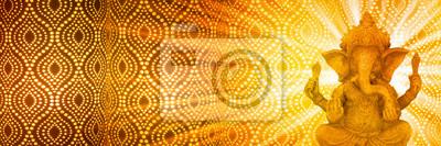 Obraz festlicher hintergrund mit ganesha gottheit figur