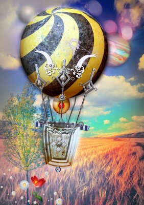 Obraz Fied kukurydzy i drzewa z steampunk balonem