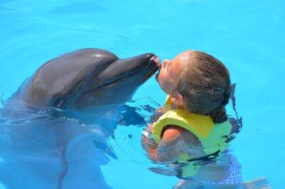 Obraz Fille embrassant un Dauphin