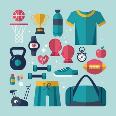 Obraz Fitness i zdrowie zestaw ikon płaskie