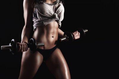 Obraz Fitness kobieta w ciężkim treningu