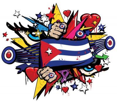Obraz Flaga Kuba Hawana grafitti banner Graff godło sztuka ulicy streamer jack chorąży kolorze kubańska rewolucja natryskowy Graff wektor