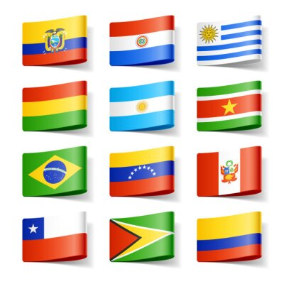 Obraz Flagi świata. Ameryka Południowa.