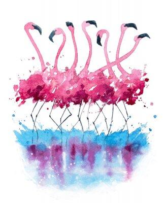 Flamingi Akwarela Obrazy Na ścianę Obrazy Pociągnięcie Ręcznie