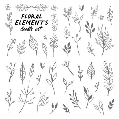 Obraz Floral doodle design elements. Hand drawn decorative leaves and wreaths. Flower ornament dividers. Tree branches with leaf and flowers.