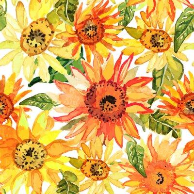 Obraz Floral szwu z słoneczniki sporządzonych akwarela.