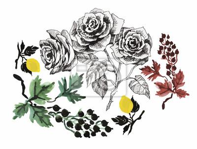 Floral tle. Floral karty. Akwarela kwiatowy bukiet