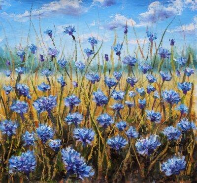 Obraz Flower Field. Niebieskie kwiaty na łące. Niebieskie niebo. Obraz olejny.