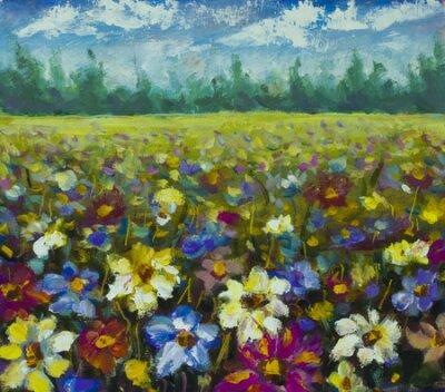 Obraz Flowers field oil painting.