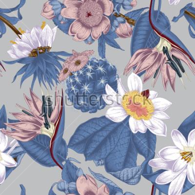 Obraz Flowers. Seamless vector background. Vintage illustration. Exotica. Tropics.
