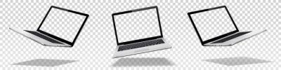 Obraz Flying laptop mock up with transparent screen isolated
