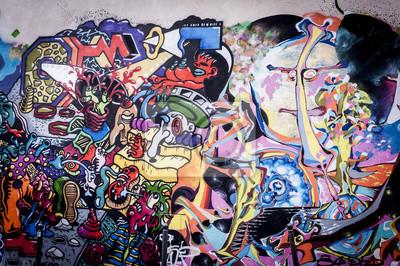 Obraz Fond Mur de graffiti aux couleurs Vives