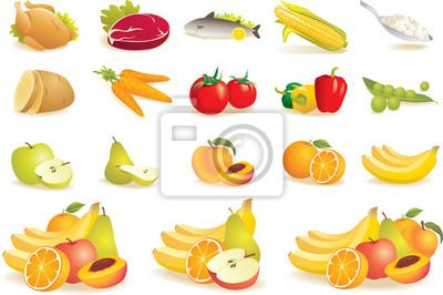 Obraz Food icons set - owoce, warzywa, mięso, kukurydza. Wektor