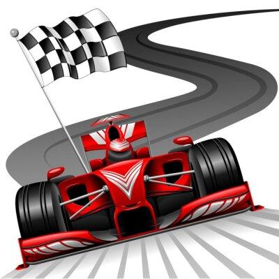 Obraz Formuła 1 czerwony samochód na tor wyścigowy