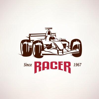 Obraz Formuła samochód wyścigowy godło, symbol wyścigu bolid