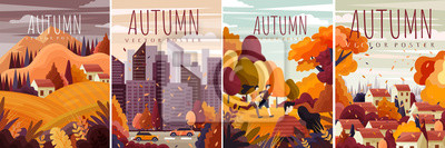Obraz Four different designs for autumn posters with colorful fall landscapes, cityscape and country scenes in a cartoon Vector illustration