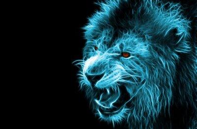 Obraz Fractal cyfrowy fantazja sztuki lwa na tle pojedyncze