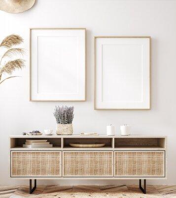 Obraz Frame mockup in fresh spring living room interior background, 3d render