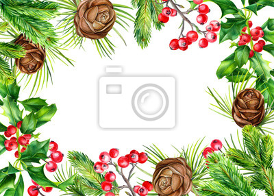 Frame of holly branch, spruce, red berries, cones on an isolated white background. Watercolor painting hand drawing, greeting card with place for text, christmas holiday