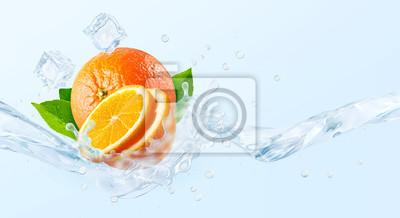 Obraz Fresh cold pure flavored water with orange wave splash. Clean orange fruit infused water or liquid fluid wave splash. Healthy flavored detox drink swirl concept with orange slice. 3D