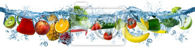 Obraz fresh multi fruits and vegetables splashing into blue clear water splash healthy food diet freshness concept isolated white background