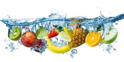 Obraz fresh multi fruits splashing into blue clear water splash healthy food diet freshness concept isolated white background