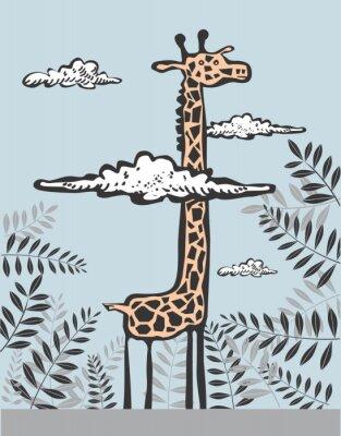 Obraz Funny żyrafa w chmurach