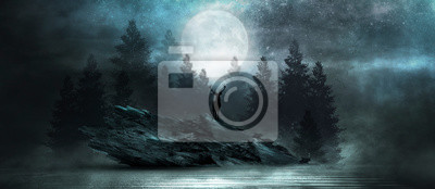 Obraz Futuristic night landscape with abstract forest landscape. Dark natural forest scene with reflection of moonlight in the water, neon blue light. Dark neon circle background, dark forest, deer.