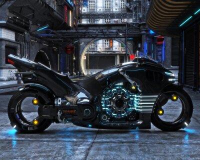 Obraz Futurystyczny cykl światła na wyświetlaczu. Motocykl jest wyświetlany z futurystycznym tłem miejskim.3d renderowania