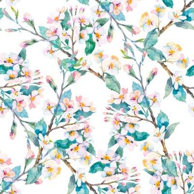 Obraz gałęzie Wiosna pattern.Flowering. Akwarela. Wektor.