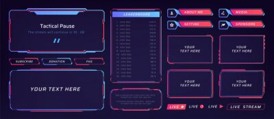 Obraz Game frame. Stream overlay banner with buttons and video player UI template. Futuristic live interface. Isolated streaming show graphic tags mockup. Vector square digital elements set