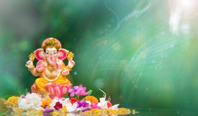 Obraz  Ganesh Chaturthi Festival Background with Lord Ganesha