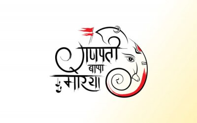 Obraz Ganesh Chaturthi Template Design with Lord Ganesha Face Illustration, writing ganpati bappa morya in hindi