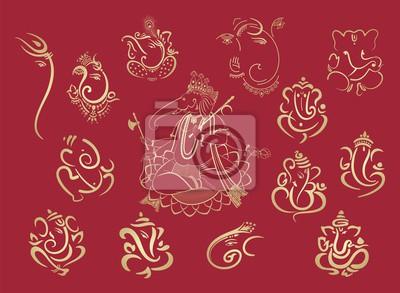 Obraz Ganesha, Aum, Hindu wedding card, Diwali, India