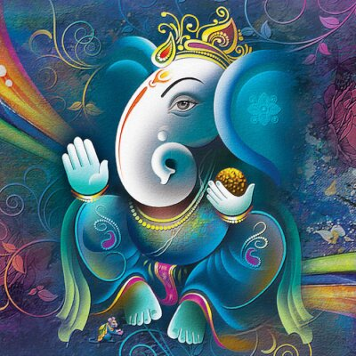 Obraz Ganesha painting, UV Wall Art Painting or Wallpaper for Living room and Bedroom. Lord Ganesha Painting on abstract decorative background For Home Decoration, Beautiful poster of Lord Ganesha.