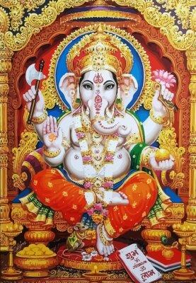 Obraz Ganesha white hindu temple bless lord faith mythology god  illustration