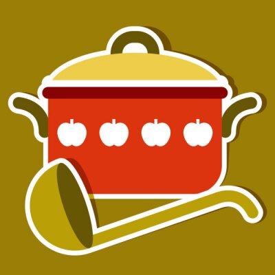 Obraz Garnek do gotowania i kadzi. Symbole kuchni wektorowe