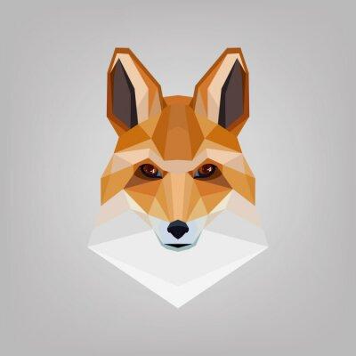 Obraz Geometryczne wielokątne głowa jest lisy. Logo projektu.