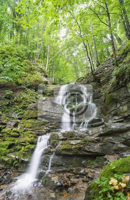 gładka woda w wodospad z żółtymi liśćmi na zielonym kamieniu w lesie