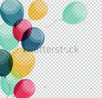 Obraz Glansowani wszystkiego najlepszego z okazji urodzin balony na Przejrzystej tła Wektorowej ilustraci eps10