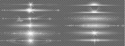 Obraz Glares lines effect. Horizontal optical lens flare light, night futuristic dusting glow strips, shining streaks, flash starlight vector set. Magic beam flare, bright lens glare horizontal illustration